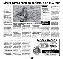 Singer returns home from London to perform, plan tour